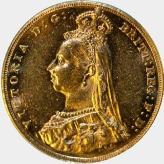 1889-M Large Head Full Sovereign reverse
