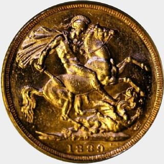 1889-M Large Head Full Sovereign obverse