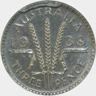 1938 Proof Threepence reverse