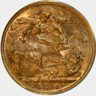 1891-M Long Tail Full Sovereign obverse