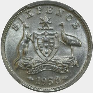 1958  Sixpence reverse