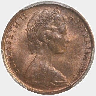 1966 Blunted 1st Claw Two Cent obverse