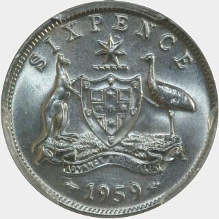 1959  Sixpence reverse