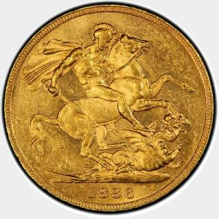 1886-M Wide Truncation Short Tail Full Sovereign reverse