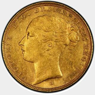 1886-M Wide Truncation Short Tail Full Sovereign obverse