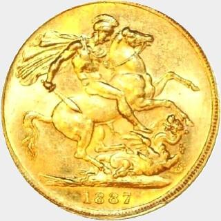 1887-S Wide Truncation Short Tail Full Sovereign reverse