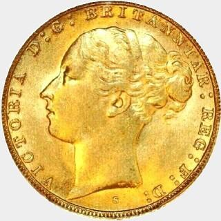 1887-S Wide Truncation Short Tail Full Sovereign obverse