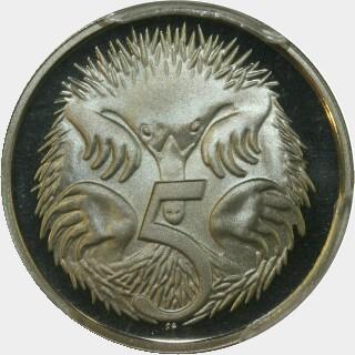 1985 Proof Five Cent reverse