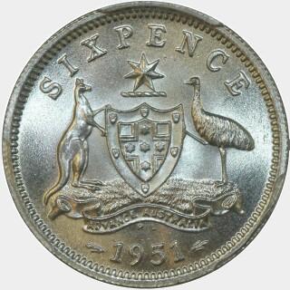 1951-PL  Sixpence reverse