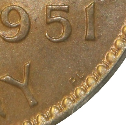 London 'PL' mint-mark on the reverse of a 1951-PL Penny.