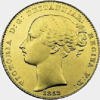 1853 Pattern Full Sovereign obverse