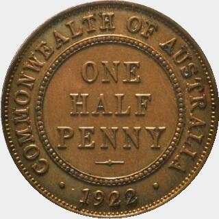 1922 Specimen Half Penny reverse