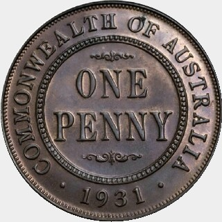 1931 Proof Penny reverse