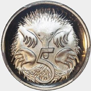 1993 Proof Five Cent reverse