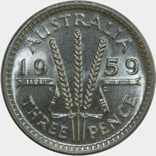 1959 Proof Threepence reverse