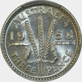 1958 Proof Threepence reverse
