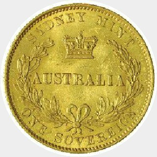 1860/59 Overdate Full Sovereign reverse