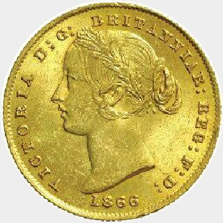 1860/59 Overdate Full Sovereign obverse