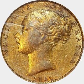 1880-S Barred V Full Sovereign obverse