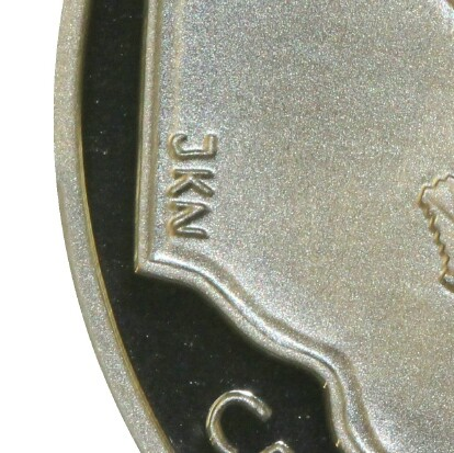 Initials of designer Joseph Neve (JKN) on the 2001 Proof (New South Wales) Twenty Cent.
