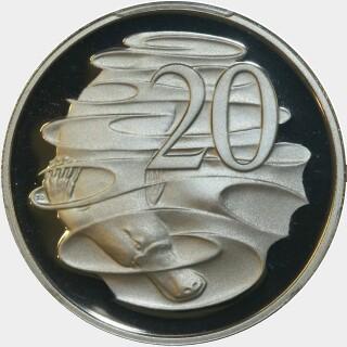 1987 Proof Twenty Cent reverse