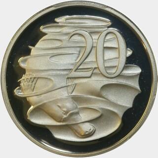 1986 Proof Twenty Cent reverse