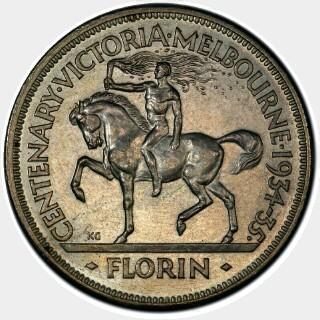 1934-35 Proof Florin reverse