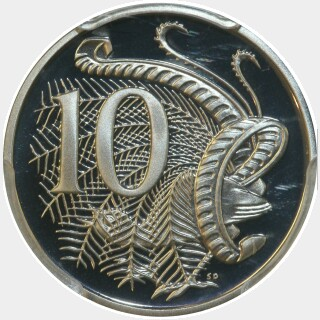 1986 Proof Ten Cent reverse