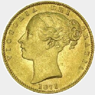 1871-S Proof WW Incuse Full Sovereign obverse