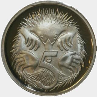 1991 Proof Five Cent reverse