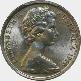 1966 Short spine Five Cent obverse