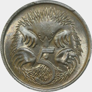 1966 Long spine Five Cent reverse