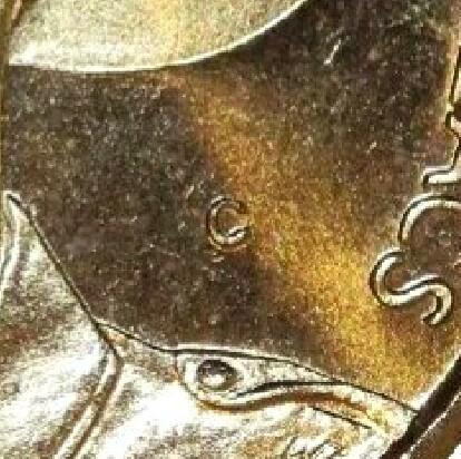 (C) mint-mark on the 1999-C (The Last Anzacs) One Dollar piece.