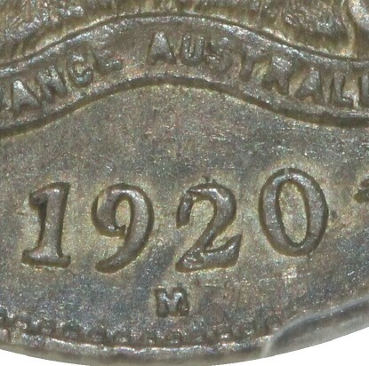 Melbourne 'M' mint-mark on the reverse of a 1920-M Sixpence.