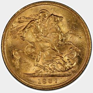 1887-S Medium JEB Full Sovereign reverse