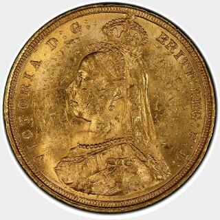 1887-S Medium JEB Full Sovereign obverse