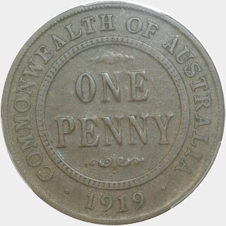1919 Double Dot Penny reverse