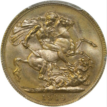 A well struck 1914-P Sovereign from the Adelaide hoard