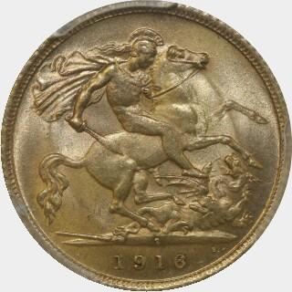 1916-S  Half Sovereign reverse