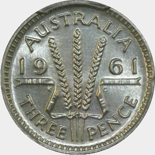 1961 Proof Threepence reverse