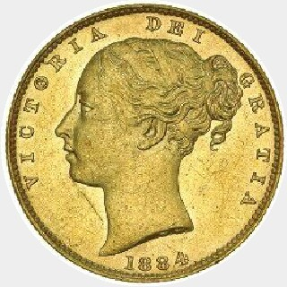 1883-S Proof Full Sovereign obverse
