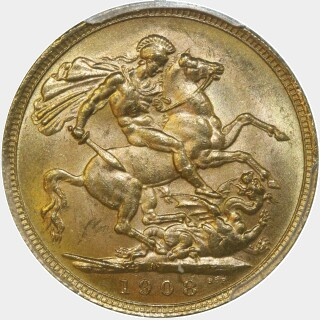 1908-M  Full Sovereign reverse