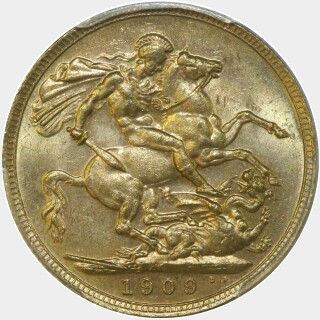 1909-M  Full Sovereign reverse