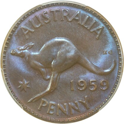 A typical toned 1959 proof penny