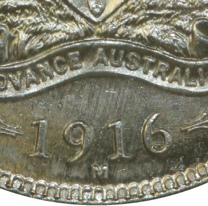 Melbourne 'M' mint-mark on a 1916-M Shilling.