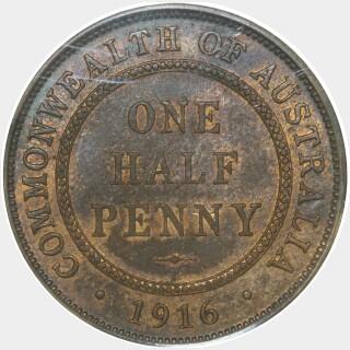 1916-I  Half Penny reverse