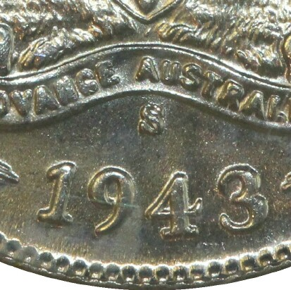 San Francisco 'S' mint-mark on the reverse of a 1943-S Sixpence.