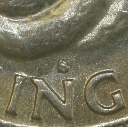 Sydney 'S' mint-mark on the reverse of a 1943-S Shilling.