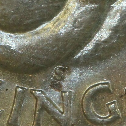 San Francisco 'S' mint-mark on the reverse of a 1942-S Shilling.