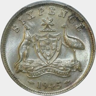 1945  Sixpence reverse